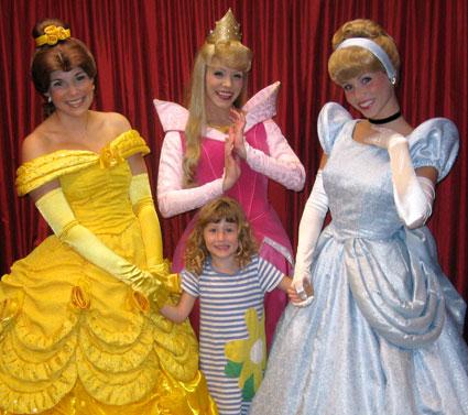 Samantha with the Princesses at Disney