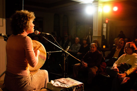 Aoife Clancy recently at the Rose Garden Coffeehouse in Mansfield ~ Photo by Stephen Ide