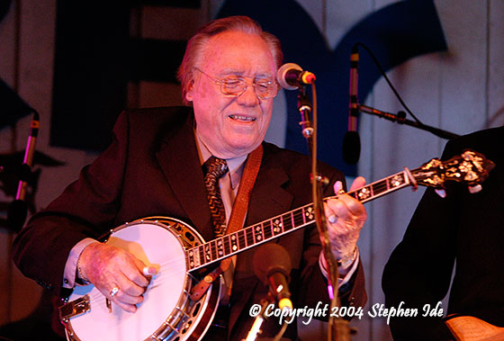 Earl Scruggs performs at the Grey Fox Bluegrass Festival, 2004. Photo by Stephen Ide