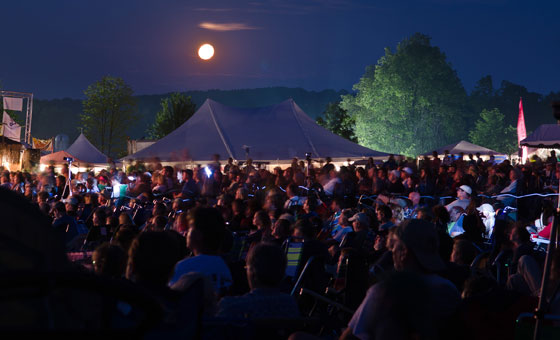 The crowd gathers for the night show at the Grey Fox Bluegrass Festival ~ Photo © 2011 Tom Warren, Grey Fox Bluegrass Festival