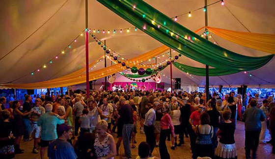 The Rhythm & Roots Festival offers a festive dance tent and a constant party - Photo © Jake Jacobson, asharpereye.com