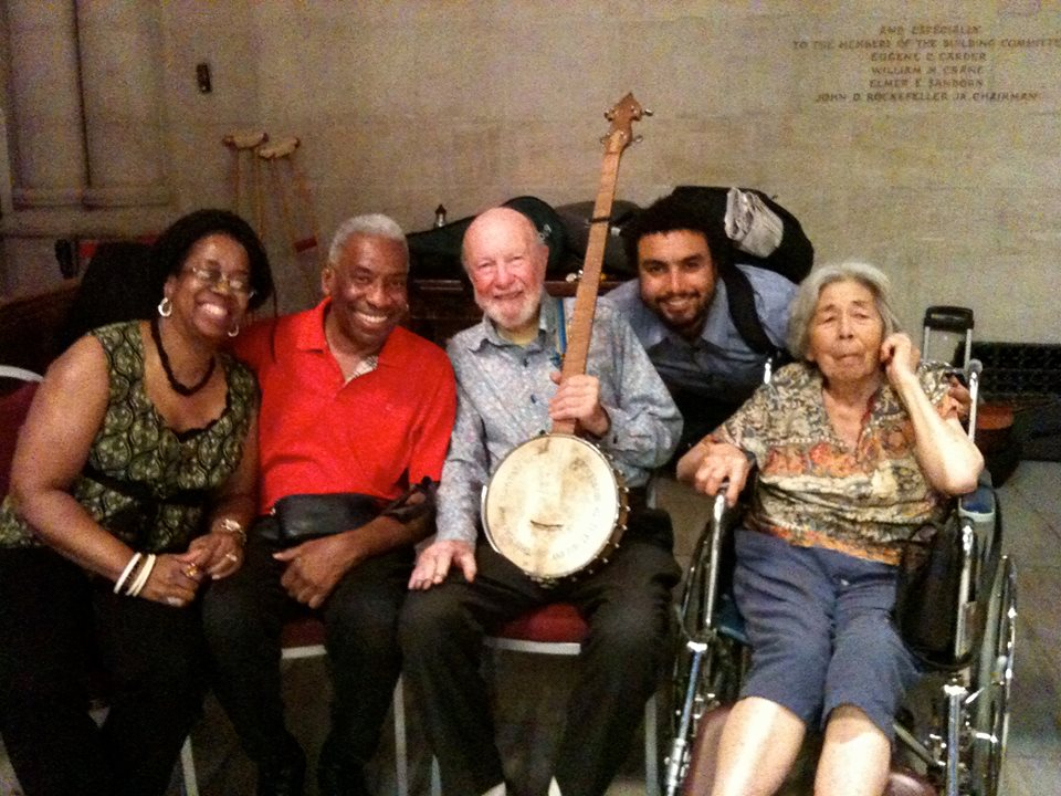 From left, Kim and Reggie Harris, Pete Seeger, his grandson Tao and wife, Toshi. Photo provided by Reggie Harris, used with permission.