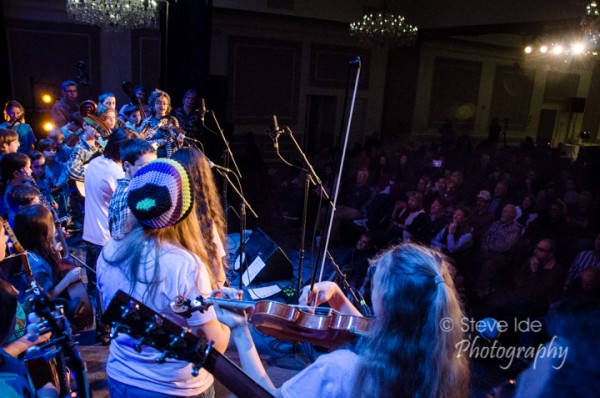 The Bluegrass Academy for Kids performs for the crowd at the Joe Val Bluegrass Festival. Photo by Stephen Ide