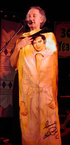 Rex Fowler dons his Velvet Elvis cape in this 2002 file photo. Photo © 2002 Stephen Ide