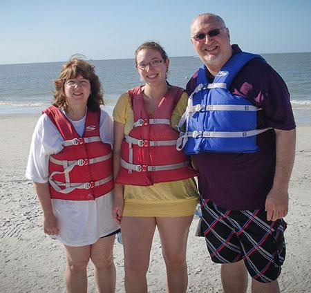 Deb, Rachel and Steve prepare to go jet-skiing