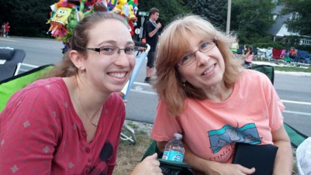 Deb and Rachel prepare to enjoy the Sharon fireworks.
